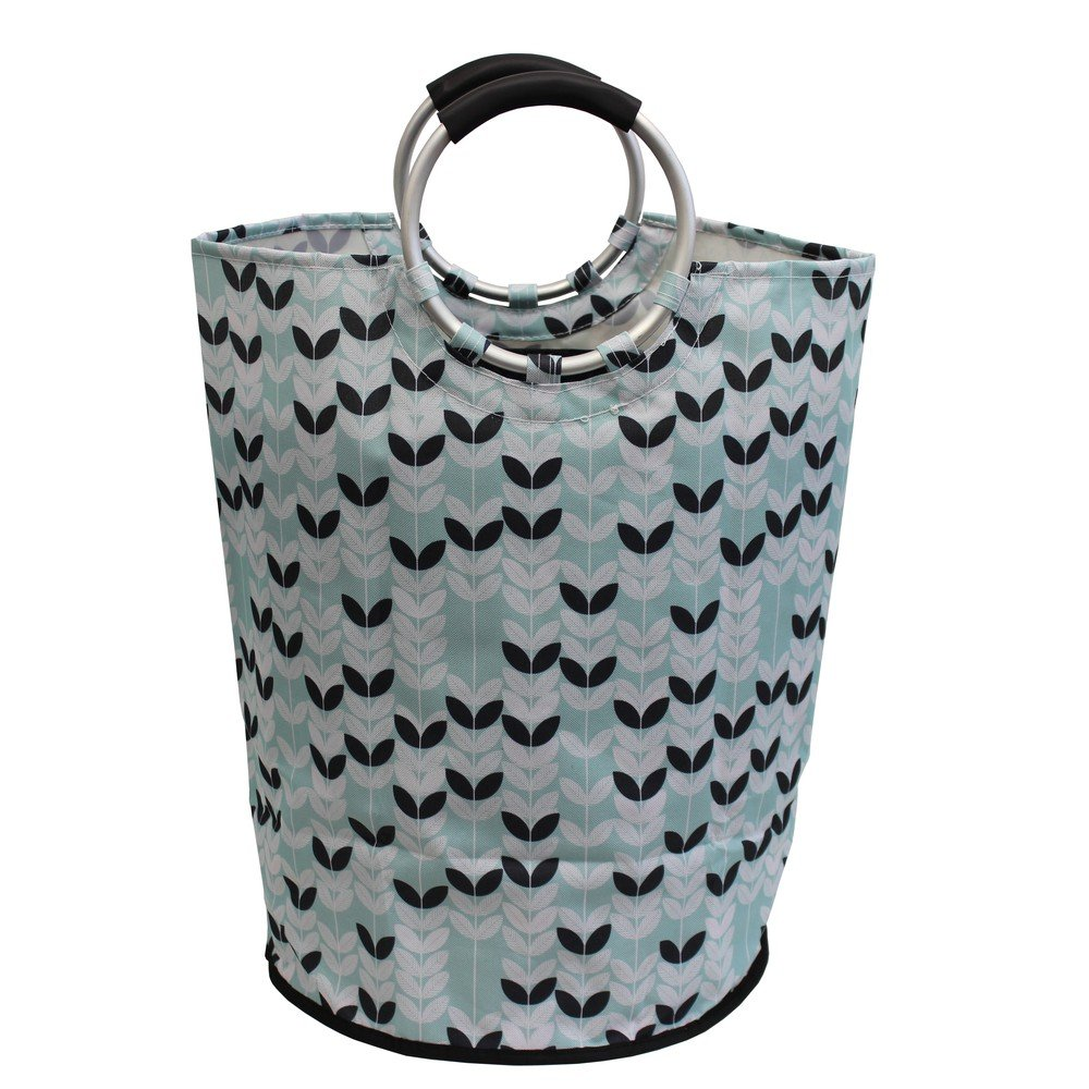 JVL Patterned Fabric Laundry Washing Bag with Metal Handles, Brown 08-013BK