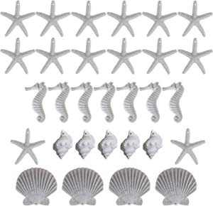 dstfuy Shell Ornaments,White Resin Pencil Finger Starfish Seahorse Seashells & Finger Conch Set with Pre-Drilled Hole for Beach Wedding,Party,Home,DIY Craft Decorations(30Pieces)