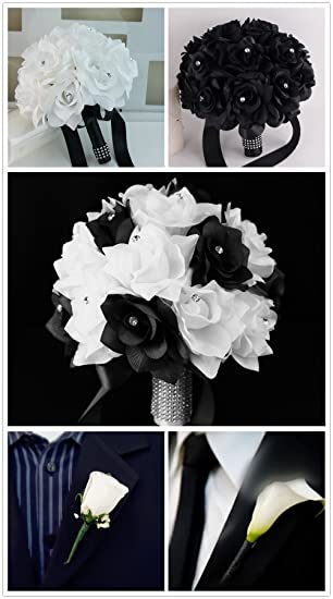 Amazon 13pc set wedding flower package 5 bouquets 2 corsages 6 amazon 13pc set wedding flower package 5 bouquets 2 corsages 6 boutonnieres black and white home kitchen mightylinksfo