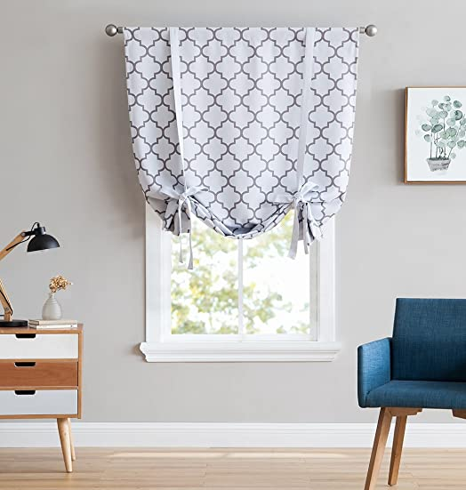 HLC.ME Lattice Print Thermal Room Darkening Blackout Tie Up Balloon Shade Curtain for Small Windows – Platinum White Grey – 46 W x 63 L