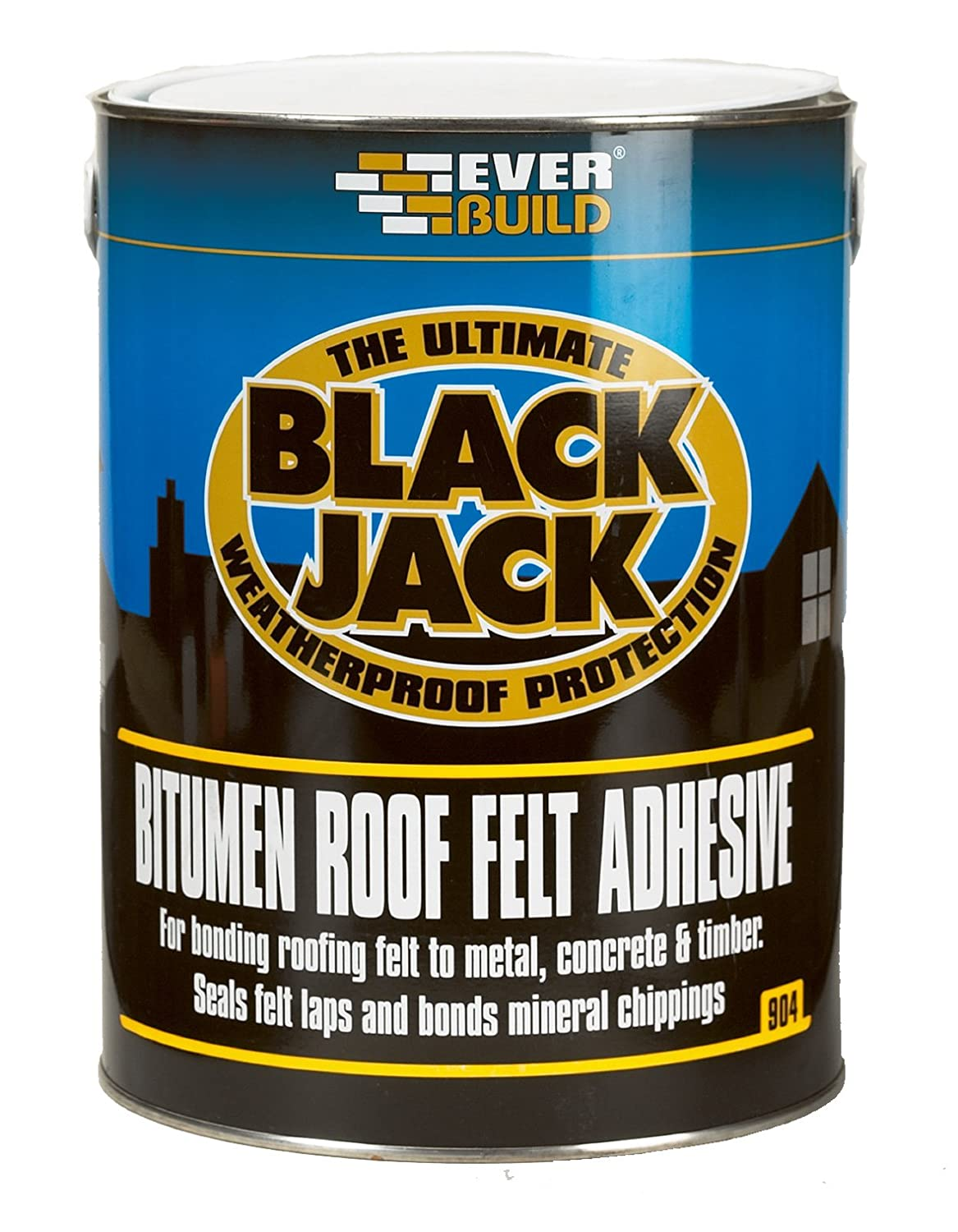 904 Roof Felt Adhesive - Cold applied adhesive to bond roofing felt to most surfaces - 25L - Black Everbuild 90425