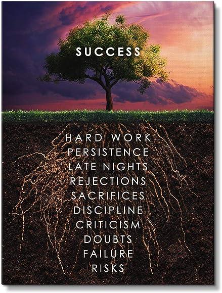 IKONICK Roots of Success Motivational Canvas Wall Art