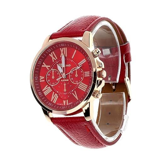 Reloj de Las Mujeres de Ginebra,Internet los números Romanos de imitación de Cuero del análogo de Cuarzo: Amazon.es: Relojes