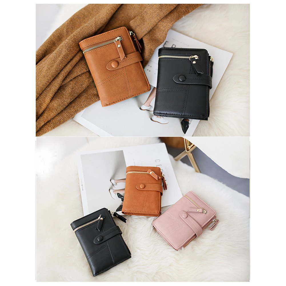 Women Small Wallet RFID Blocking Leather Bifold Card Holder Zipper Coin Purse (Black) by Remidoo (Image #6)
