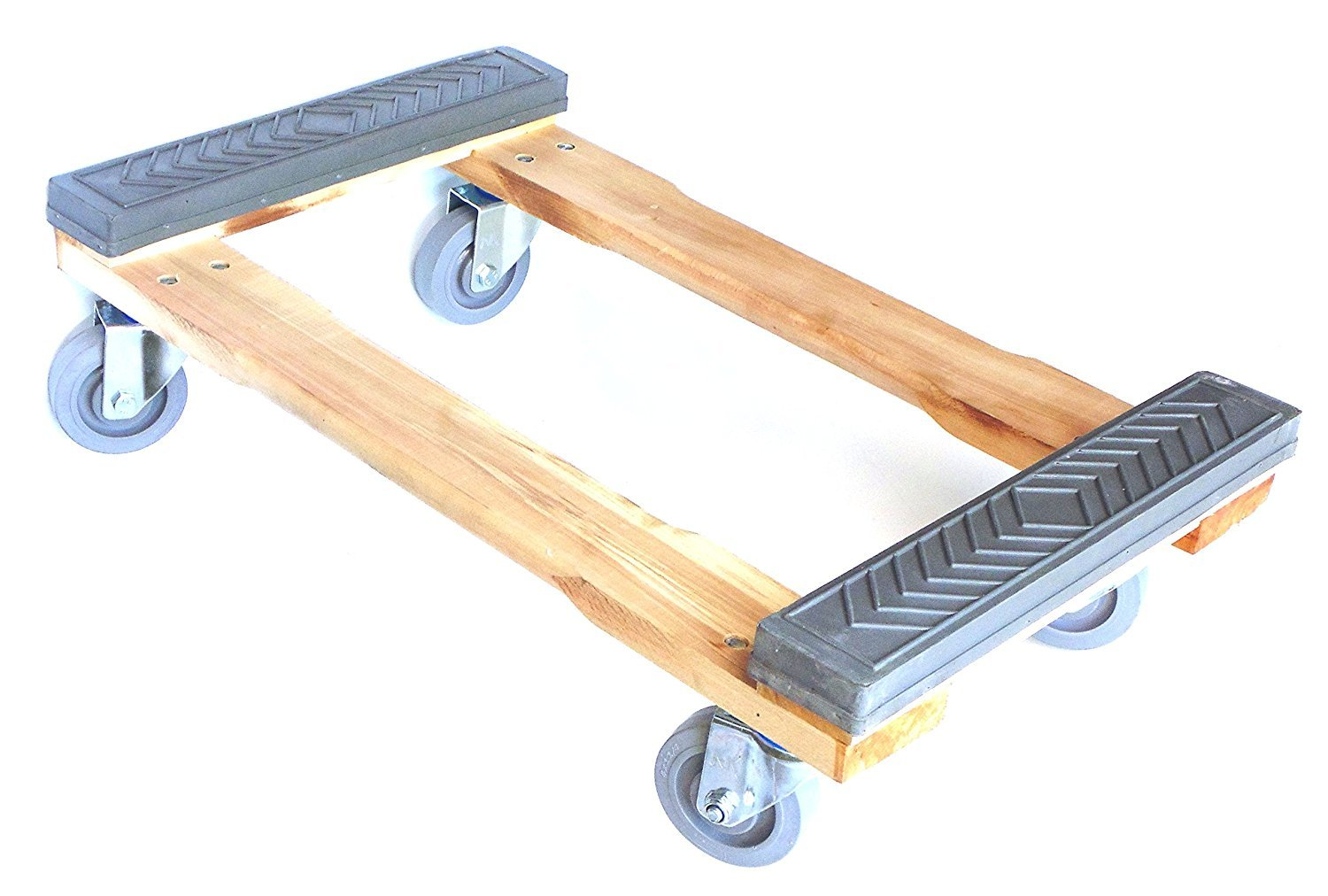 NK Furniture Movers Dolly, Rubber End Caps, Soft Gray Non-marking TPR Wheels, 30'' Length x 17'' Width (3'' TPR Wheels)
