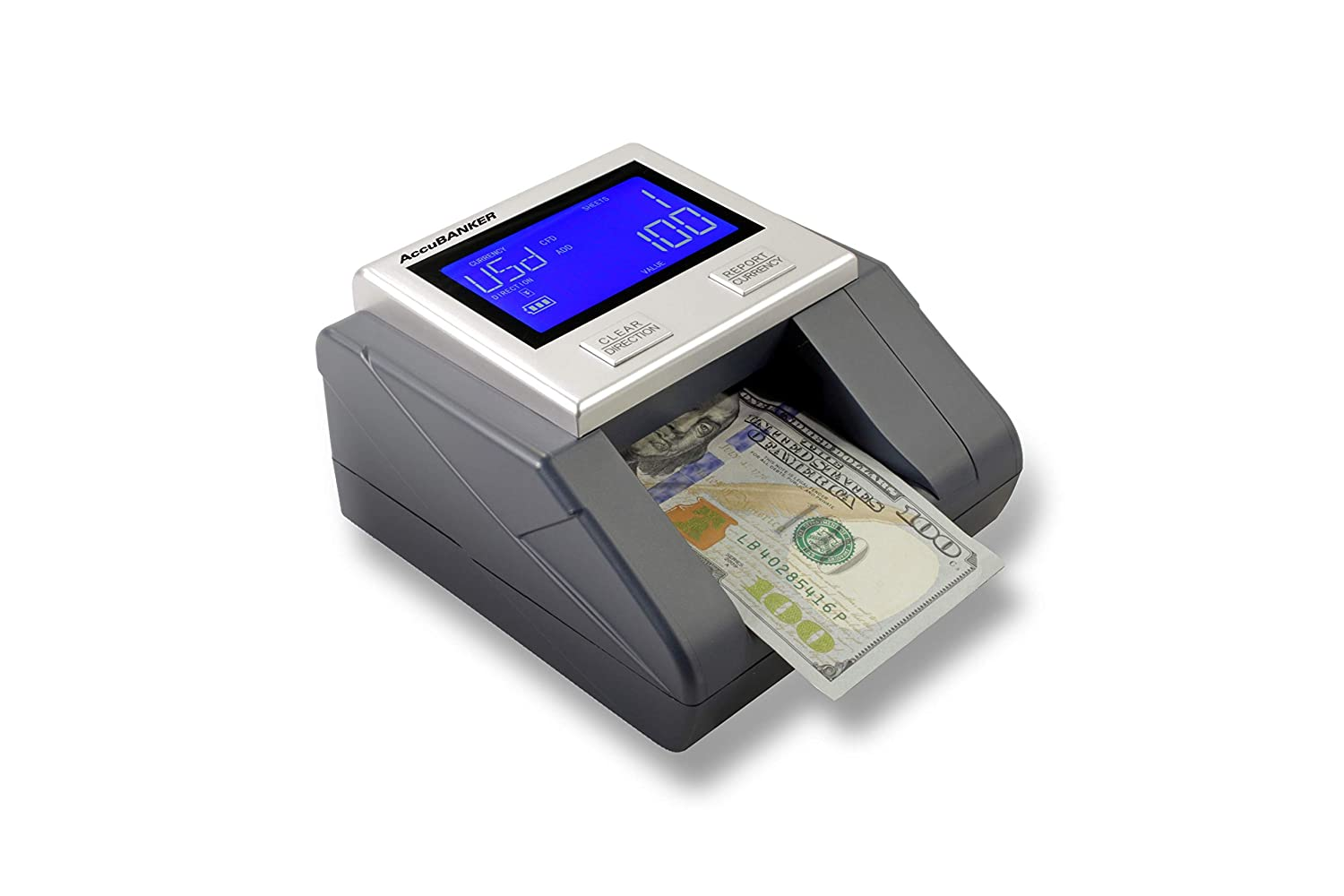 Multi-Orientation Feeding System Visual and Audible Alerts Banknote Verification AccuBANKER D585 Multi-Scanix Counterfeit Currency Detector USD, EUR, GBP Multi-Currency Detection