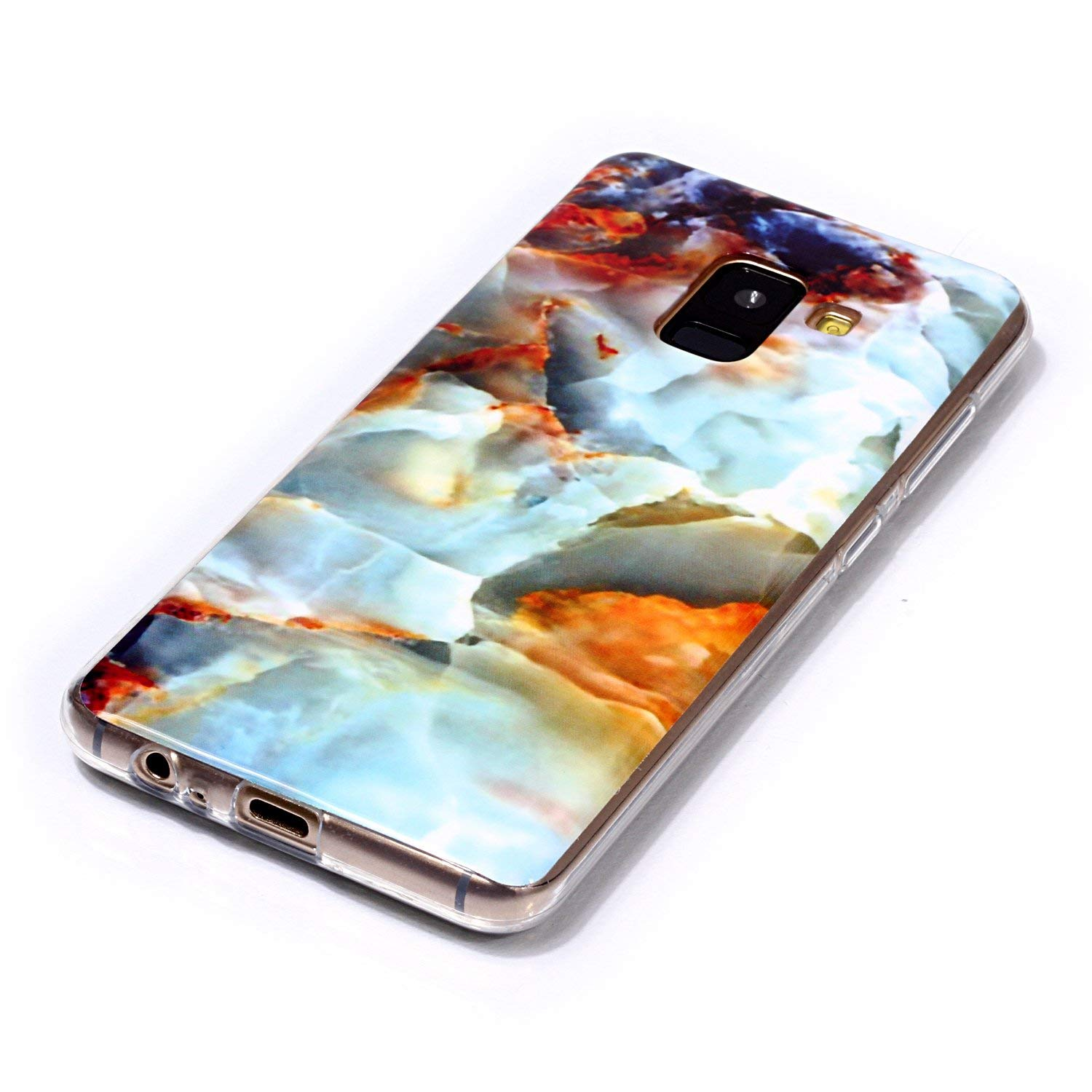 for Samsung Galaxy A6 2018 Marble Case with Screen Protector,Unique Pattern Design Skin Ultra Thin Slim Fit Soft Gel Silicone Case,QFFUN Shockproof Anti-Scratch Protective Back Cover - Fire Cloud by QFFUN (Image #3)