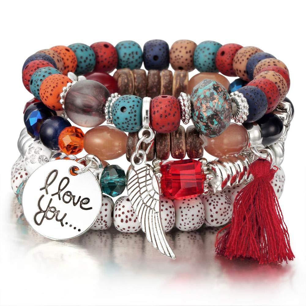 Jiuyuan Crystal Bead Vintage Bracelet Jewelry Tassel Natural Stone Charms Wristband Gift
