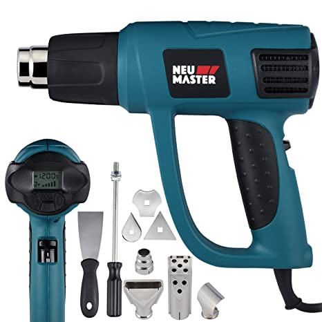 5bfd6fe2a42cd Heat Gun Variable Temperature, NEU MASTER 1500W 120°F-1200°F Automotive Hot  Air Gun with LCD Display, Overload Protection, 6 Nozzles Attachments for ...