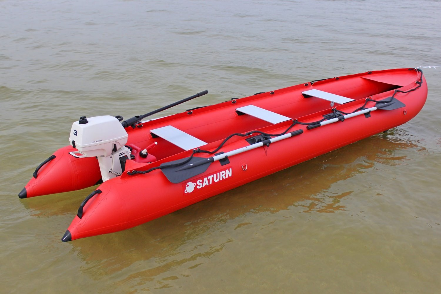 Saturn 15 ft KaBoat SK470 Inflatable Boat and Inflatable Kayak Crossover -  Red  Dinghy Tender Raft Inflatable Motor Speed Boat  Narrow fast boat