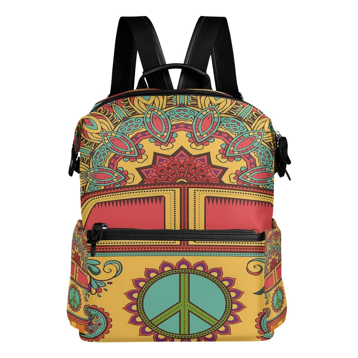 Hippie Vintage Mini Van Peace Sign Casual Backpack Lightweight Travel Daypack Bag Multi-Pocket Student School Bag