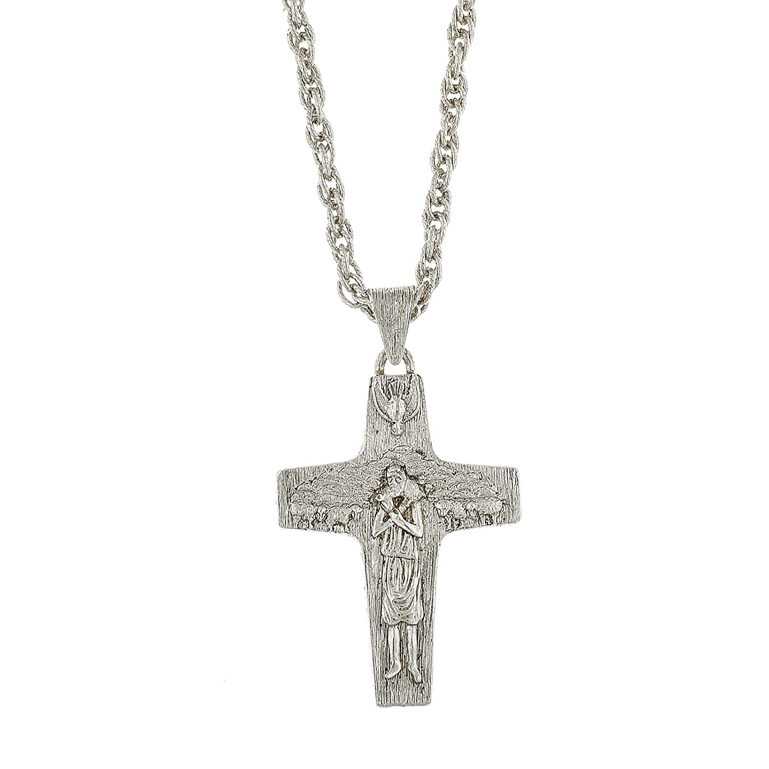 """Symbols of Faith"" Silver Tone Pope Francis Papal Cross Pendant Necklace"