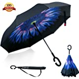 Inside out Umbrella, Opret Double Layer Inverted Umbrella Windproof Reverse, with C-shaped Handle Carrying Bag Self-Standing Car Use Unique Colour For Women and Men