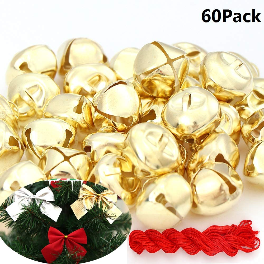 60Pack1 Inch Jingle Bells Christmas Gold Bells For Christmas /& Party /& Festival Decorations