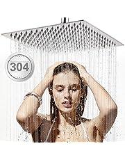 Cabeza de Ducha de lluvia, TBONEEY Gran Cuadrada de SUS304 Acero Inoxidable Ducha de Lluvia, 20cm/8'' Alta Presión Montaje Fijo de Ultra fino Ahorro de Agua Regaderas Fijas para Baño Gigante Piso Individual