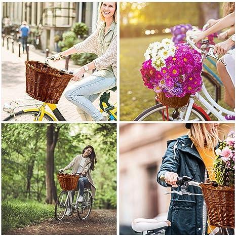 Durable Et Facile /À Monter. Starter Panier /À Bicyclettes Panier /À V/élo en Osier /À lavant Panier /À Bagages Tiss/é /À La Main pour Adulte Sangles en Cuir