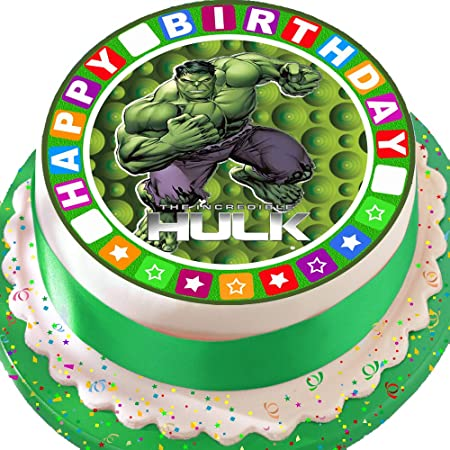 INCREDIBLE HULK RED STAR BORDER PRECUT EDIBLE BIRTHDAY CAKE TOPPER DECORATION