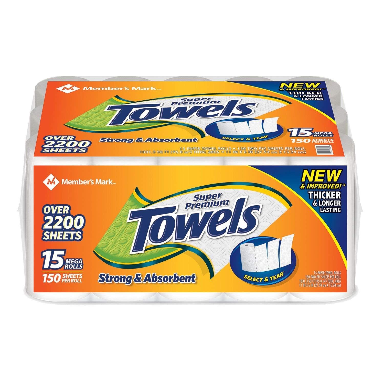 Members Mark Super Premium Paper Towels (15 Rolls, 150 Sheets per roll) (4 Pack(15 Rolls))