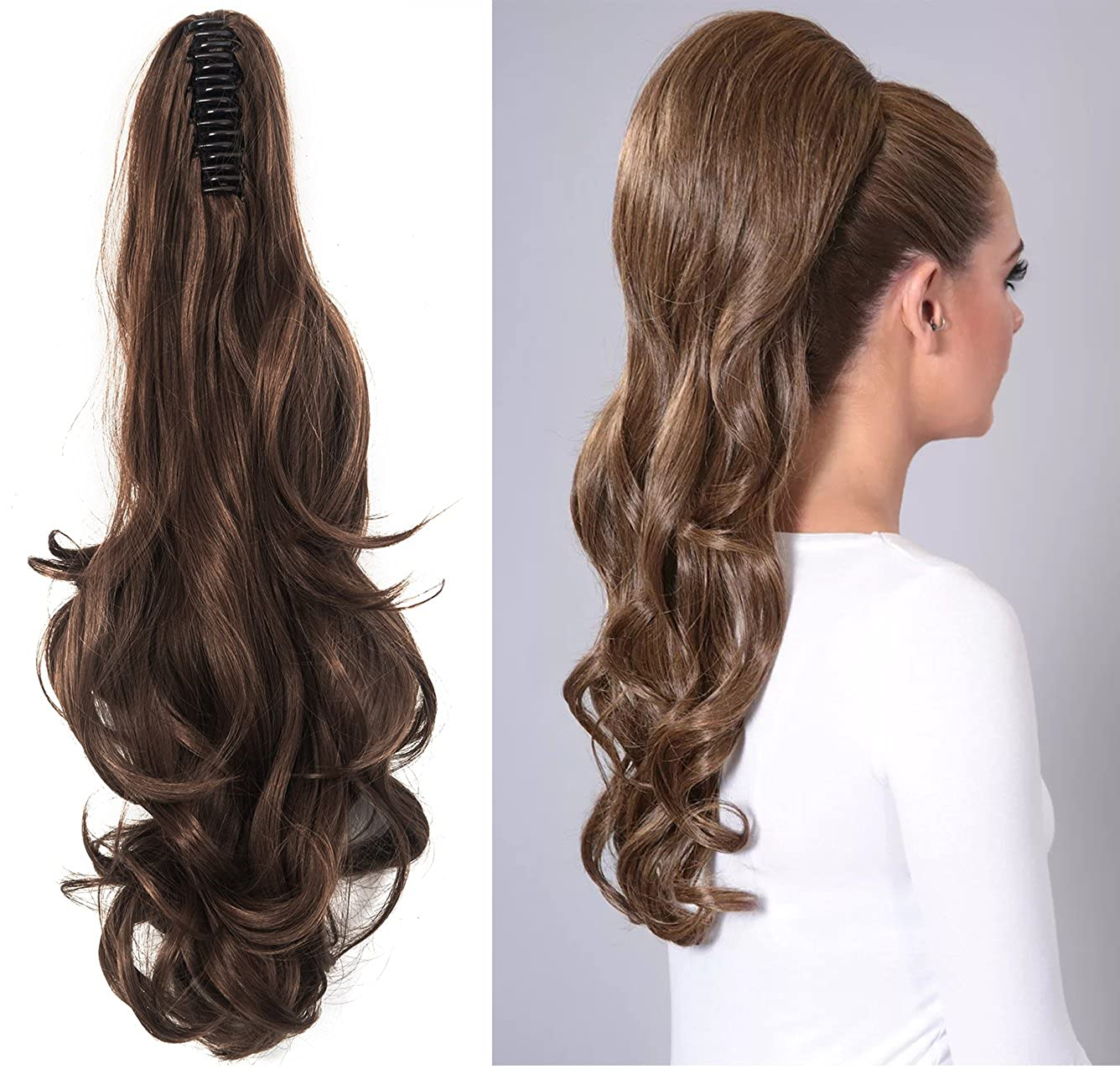18 21 Curly Straight Claw Jaw Ponytail Clip In Hair Extensions Wavy Hairpiece OMG@T6-CN-ZZH-JP-C