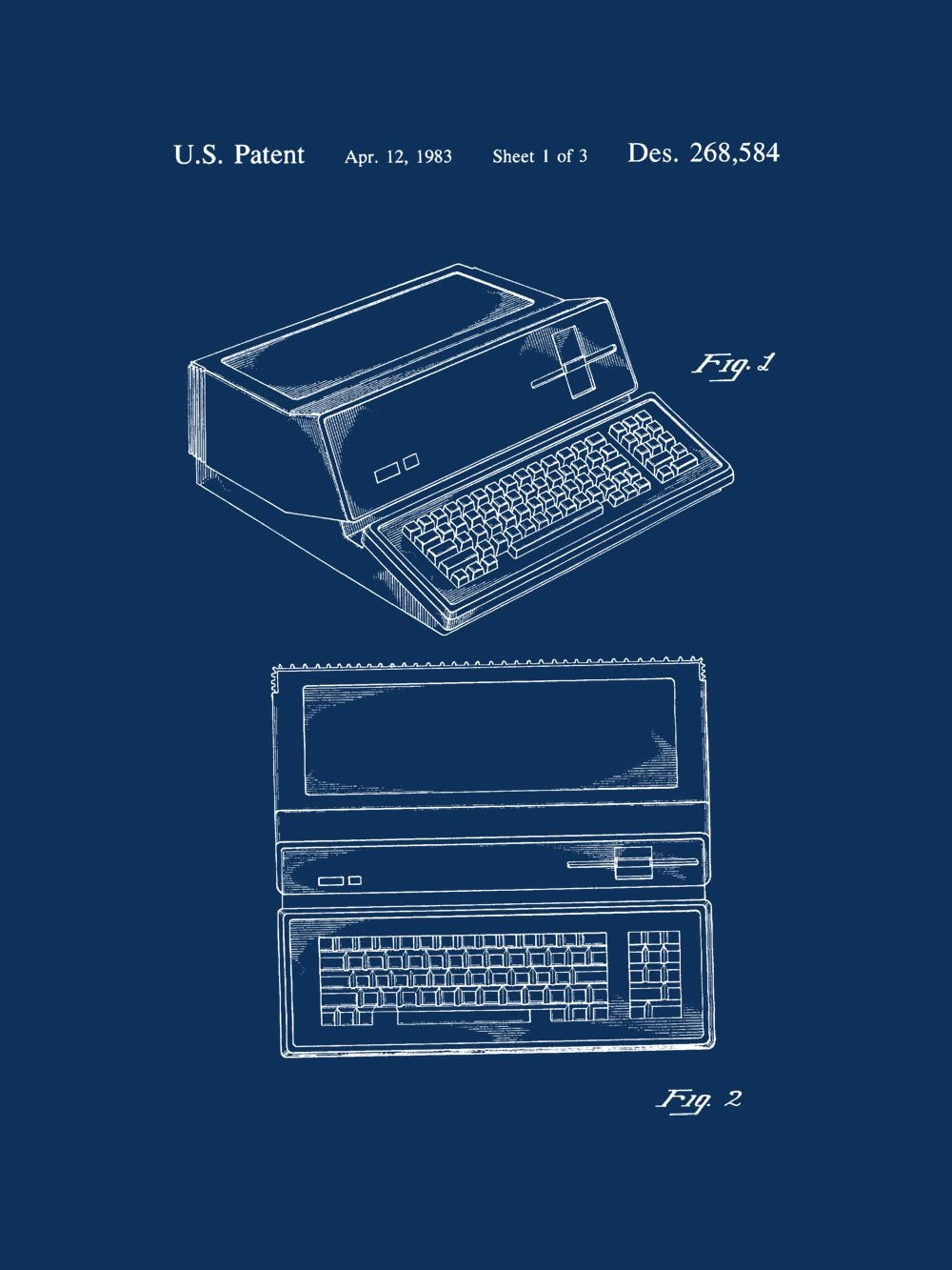 "Framable Patent Art PAPSP33NB Apple One Computer Vintage 18"" x 24"" Patent Art Poster Print, Navy Blue"