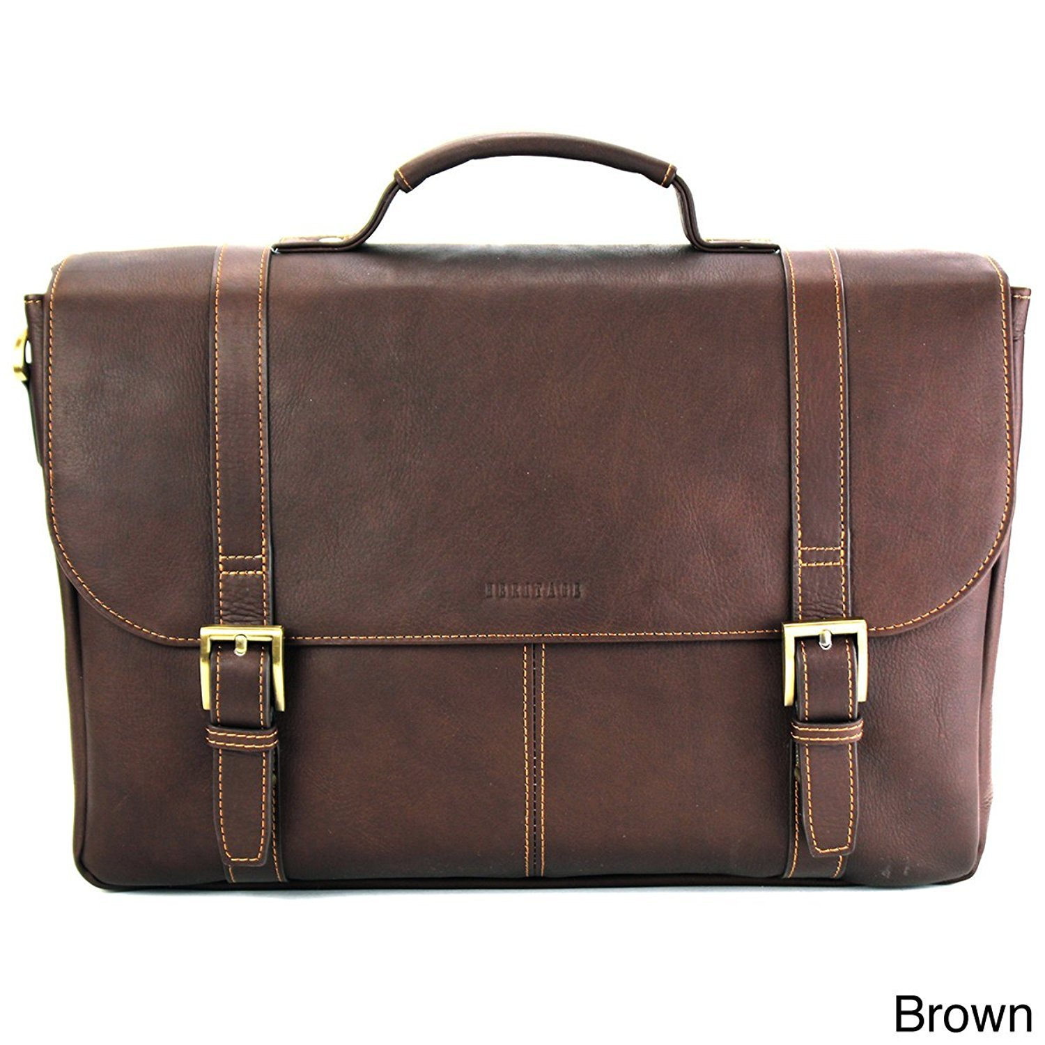 Brown Leather Attorney Briefcase, Lawyers Messenger Bag Business Laptops by DSOS (Image #1)