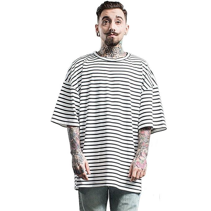 82d6bf56c65 CHENMA Men Fashion Hipster Hip Hop Stripe Print Baggy T Shirt Tops ...