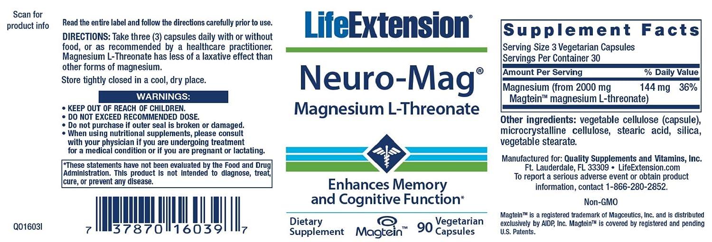 Cápsulas de magnesio L-treonato Life Extension Neuro-Mag (bote de 90 cápsulas vegetarianas): Amazon.es: Salud y cuidado personal