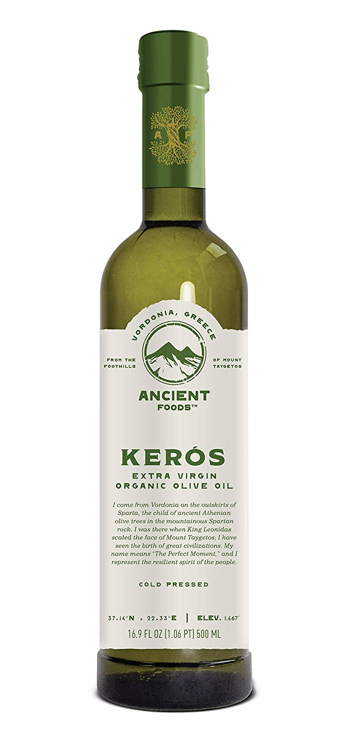 Ancient Foods – Organic Greek Extra Virgin Olive Oil – 1000 Year Old Trees – Special Origin – Chefs Favorite - Mountain Keros – 17oz