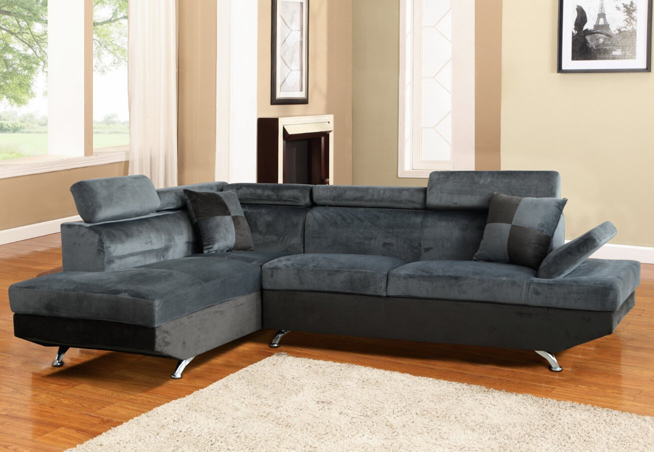 Beverly Furniture F2806A-2PC-GY 2 Piece Microfiber & Faux Leather Right Facing Sectional Sofa Set - Gray