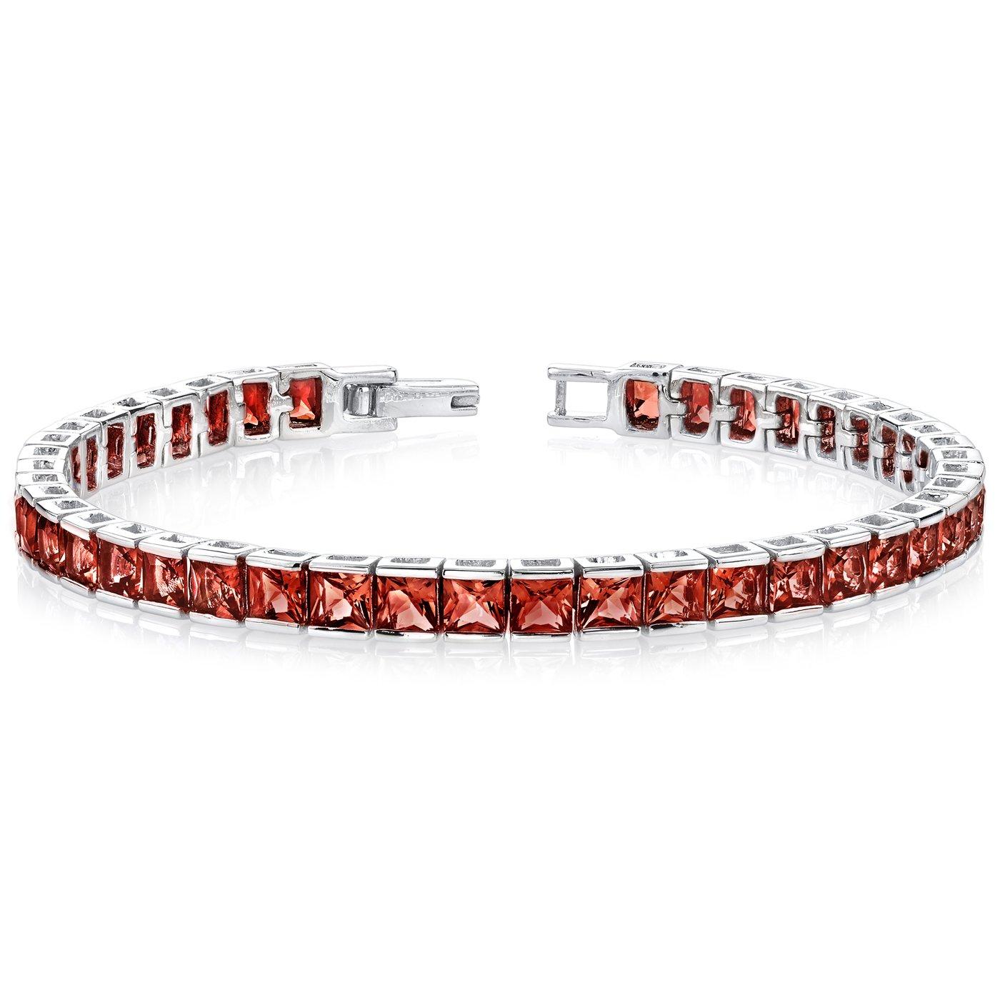 Garnet Tennis Bracelet Sterling Silver Princess Cut 16.75 Carats