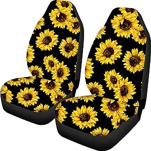 JoyLamoria Fashion Sunflower Print Universal Car Steering Wheel Covers for Women Girls Soft Neoprene Anti-Slip Car Accessories for Most Sedan Van SUV