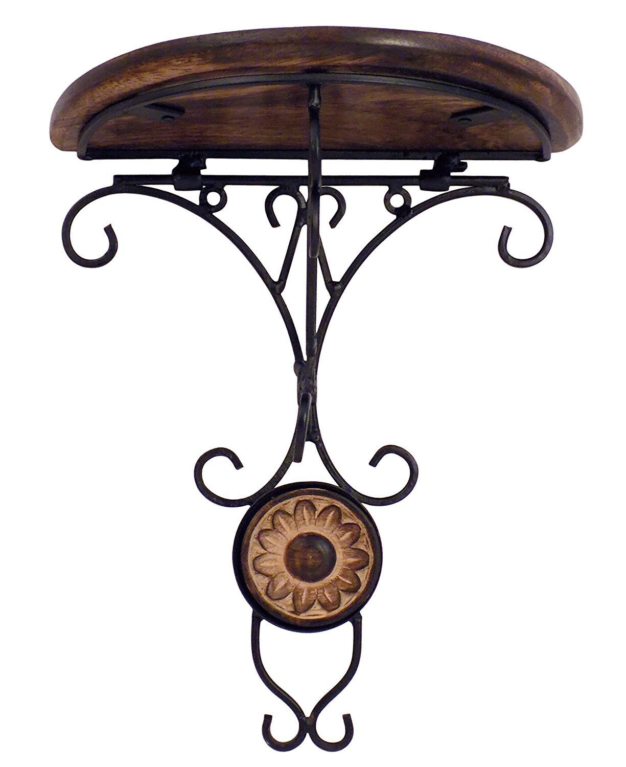 PMK Wood Handmade Wall Mounted Wall Bracket, Wall Hanger for Clothes Flower Carvings and Telephone Stand, Decorative Item for Home & Office, 9 x 8 Inch