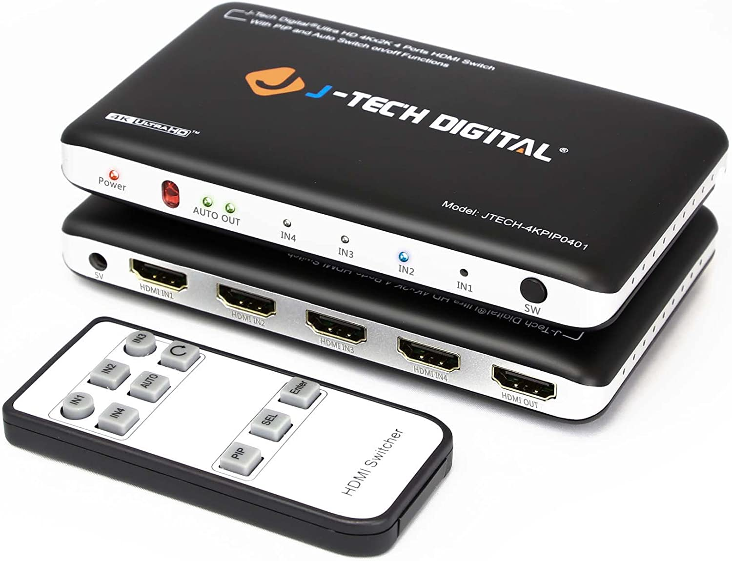 J-Tech Digital 4K x 2K 4-Port HDMI Switch with PIP, IR Wireless Remote Control, and Auto Switch ON/Off Functions HDMI Switcher Hub Port Switches