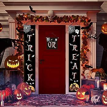 Feeke Trick or Treat Halloween Front Door Welcome Signs