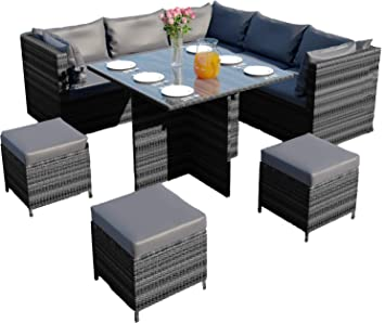 Super Abreo Rattan Corner Garden Furniture Set Dining Cube Table Modular With Footstool Ottomans Light Dark Cushions Dark Mixed Grey With Dark Cushions Download Free Architecture Designs Intelgarnamadebymaigaardcom