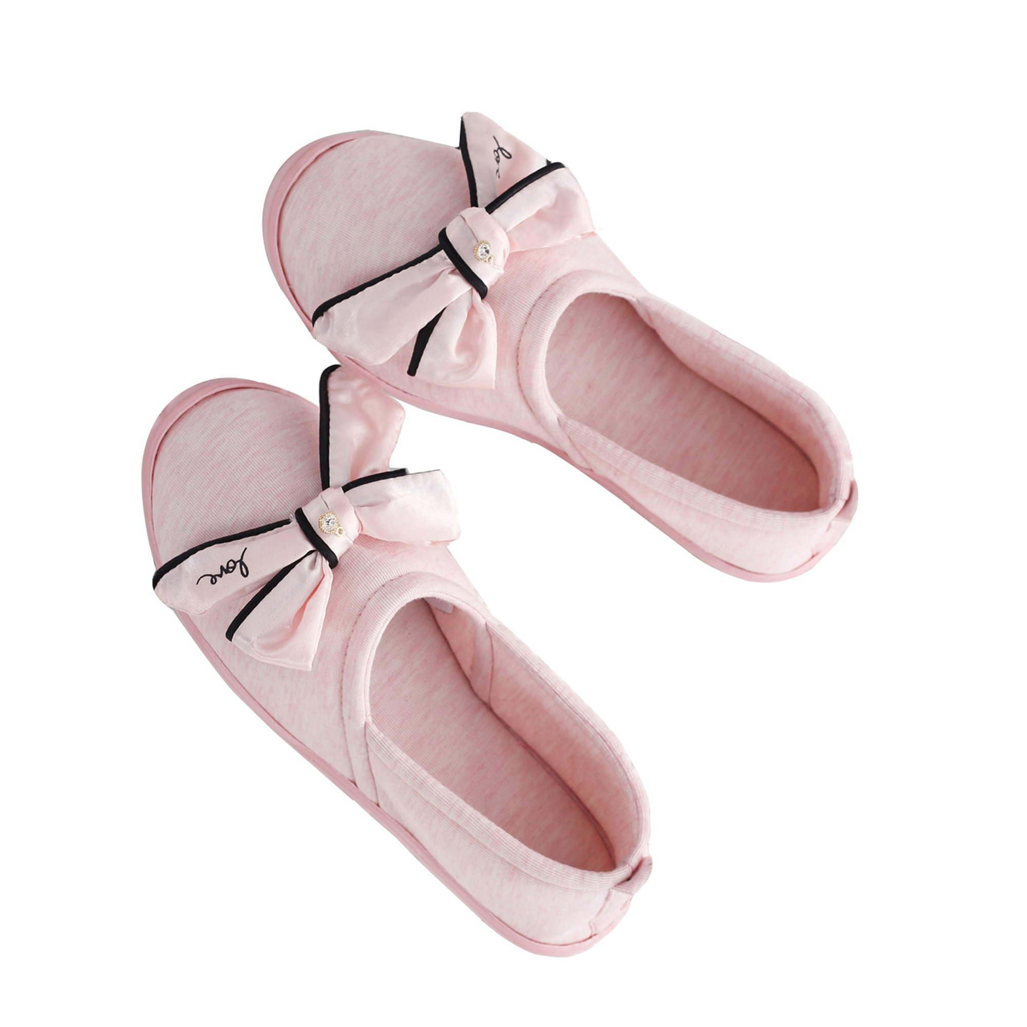 DRSLPAR Womens House Slippers Comfort Closed Back Cotton Slippers with Bow Anti-Slip Home Shoes Grey M