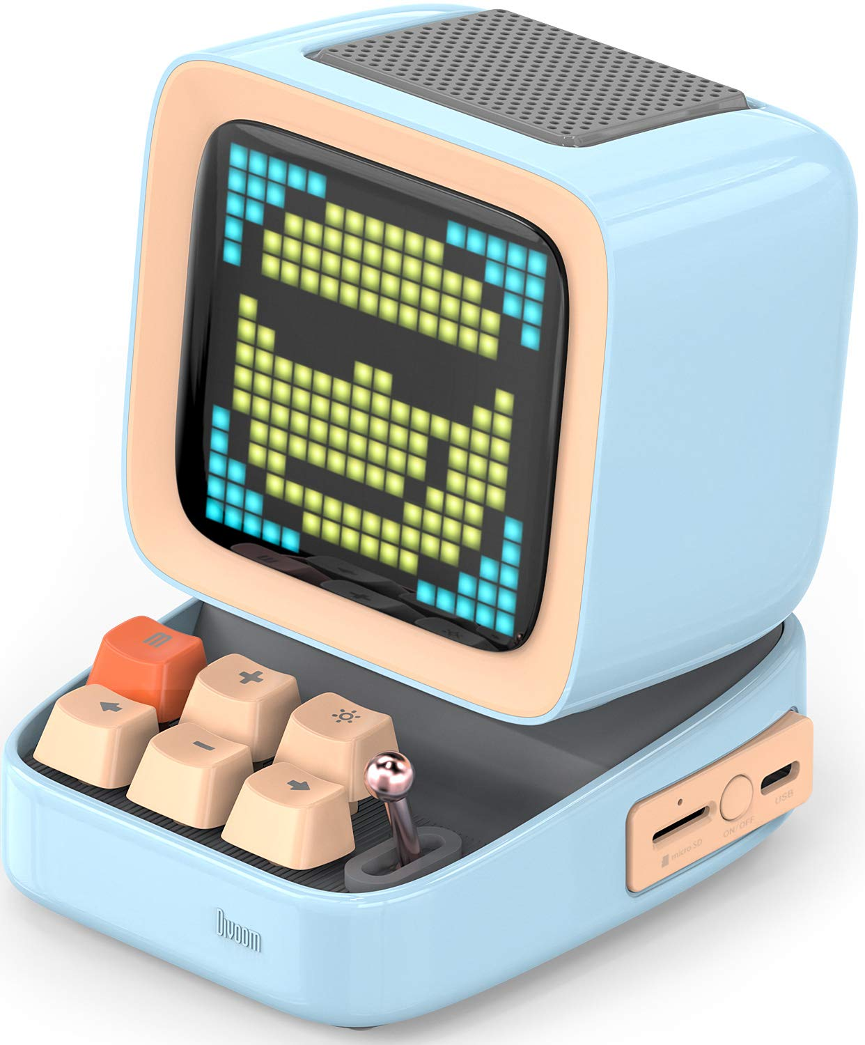 Divoom Ditoo Retro Pixel Art Game Bluetooth Speaker with 16X16 LED App Controlled Front Screen (Blue) …