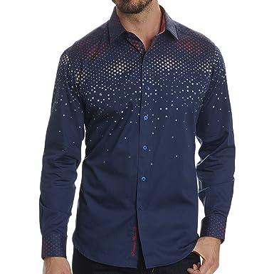 Robert Graham Men's Alec Classic Fit Sport Shirt, Navy, Medium