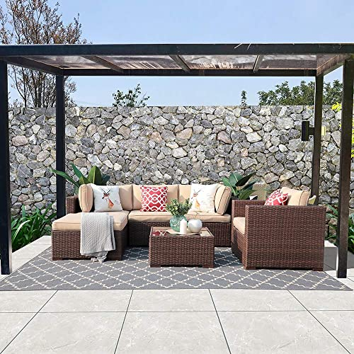 Patiorama 6 Pieces Outdoor Patio Furniture Sets, All-Weather Brown Wicker Rattan Sectional Sofa Set with Beige Cushion