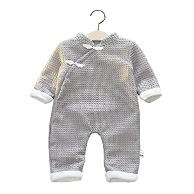 1f3fcd3051 EsTong Unisex Chinese Style Newborn Baby Romper Dish Buckle Design Jumpsuit  Long Sleeves Outfit Grey 66