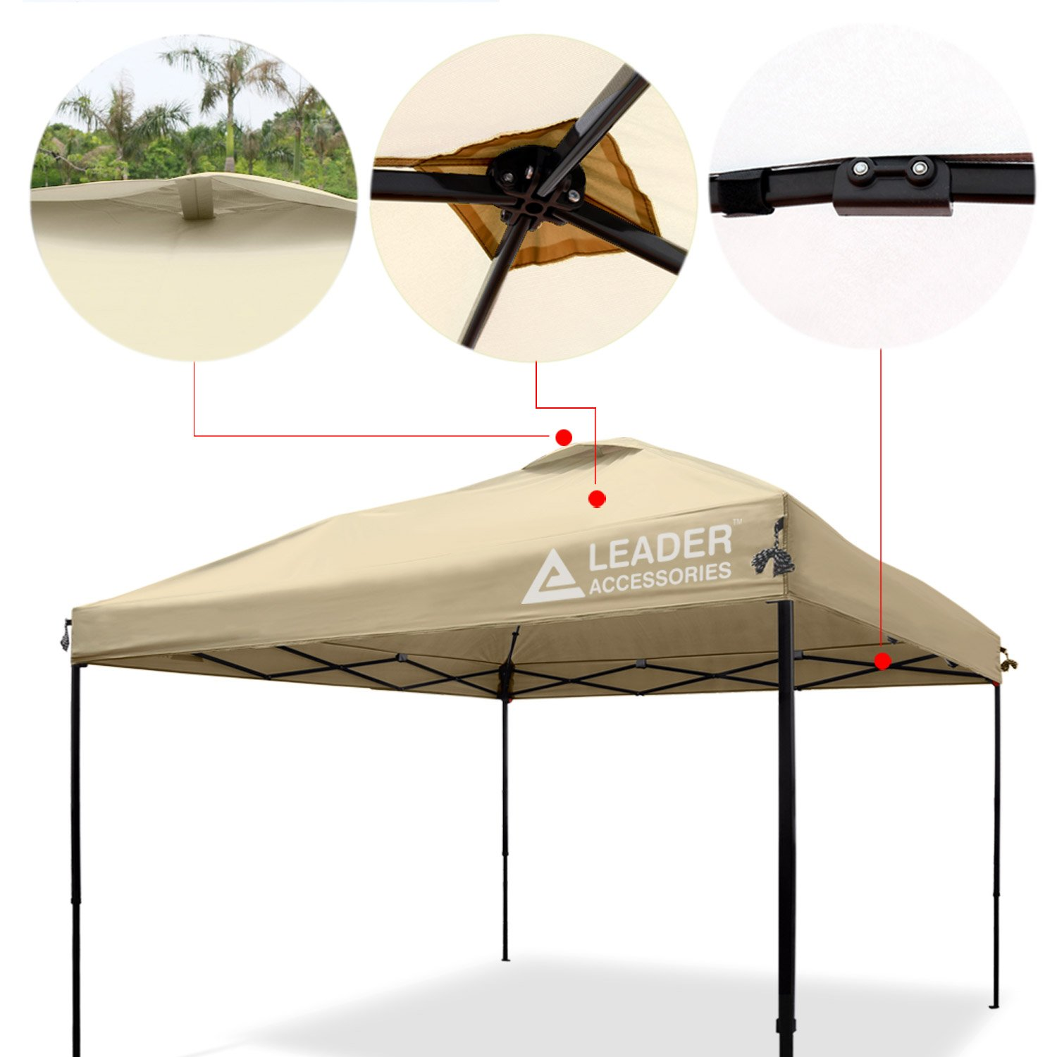 low priced 67c25 6c093 Leader Accessories Pop Up Canopy Tent 10'x10' Canopy Instant Canopy Shelter  Straight Leg Including Wheeled Carry Bag, Beige