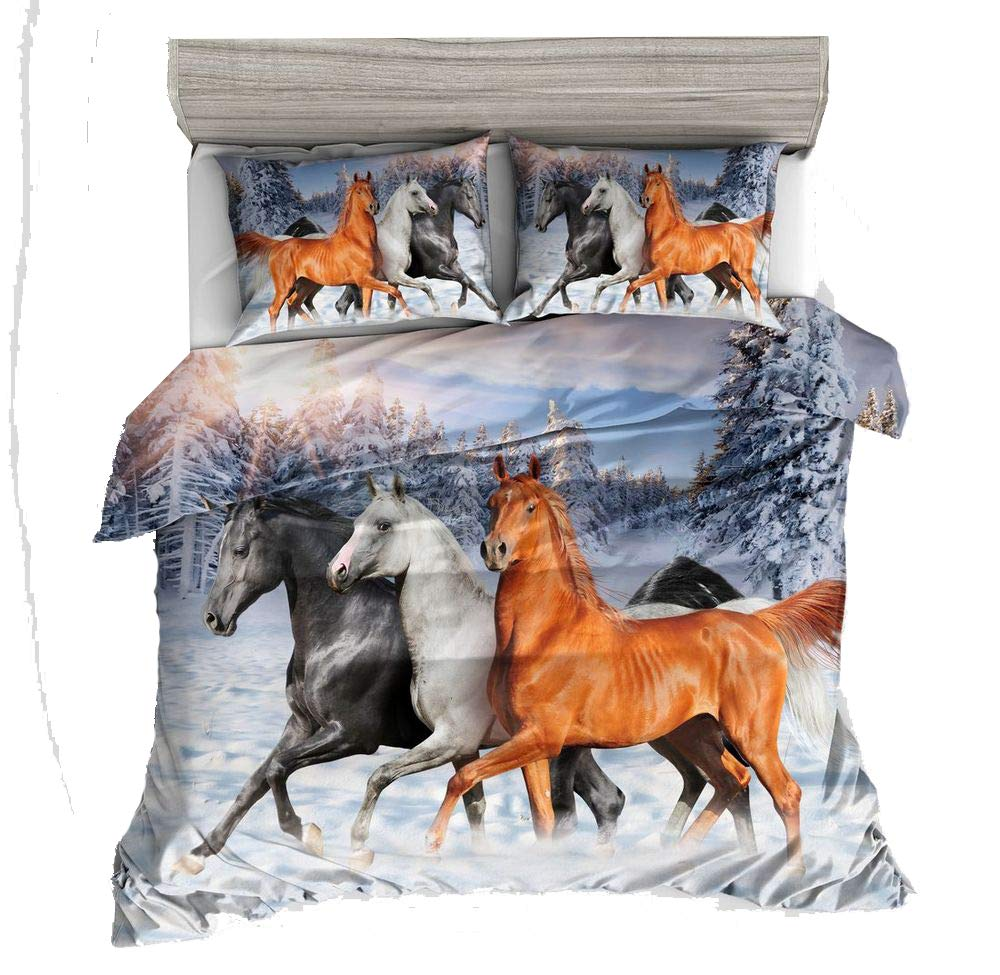 AMOR & AMORE 3D Animal Print Duvet Cover Sets, Reversible Kids Boys Girls Pretty Bedding Sets(Twin/Full/Queen) (Horse, Queen)