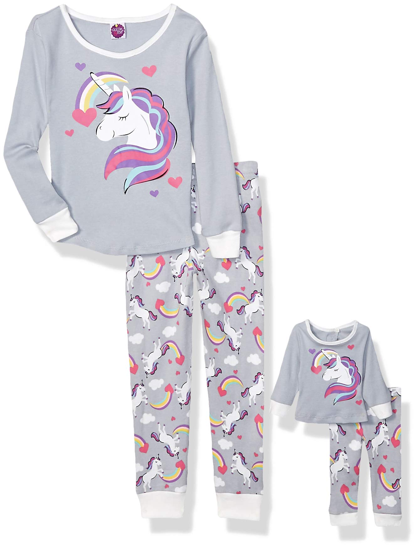 Dollie & Me Girls' Snug Fit Pajamas with Matching Doll Outfit, 4-Piece