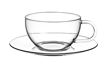 Teetassen Glas 2er set glas teetassen feelino jumbo a 330ml mit glas untersetzer