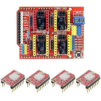 CNC Shield V3.0 placa de expansión y 4 piezas A4988 motor paso a ...