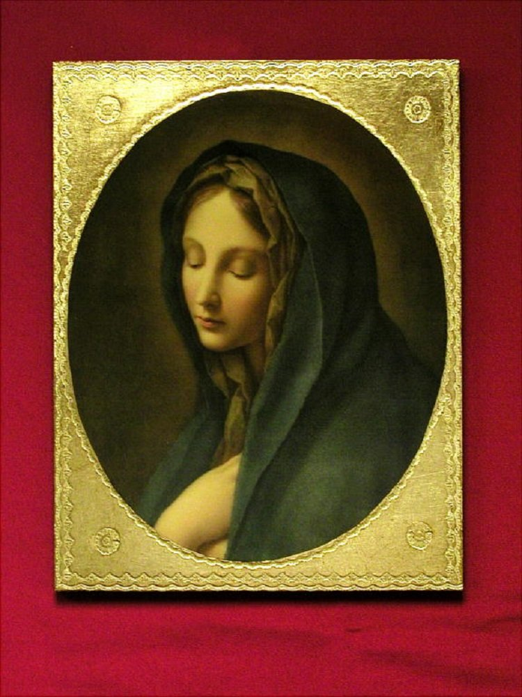 Our Lady of the Sorrows by Carlos Dolci Florentine plaque, 9 x 12 inches. Made in Italy.