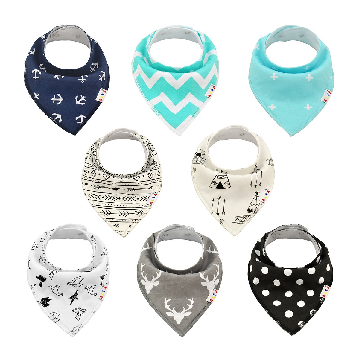 Alva Baby Unisex 8 Pack of Super Absorbent Baby Bandana Drool Teething Bibs for Boys and Girls, Best Baby Shower Gifts Set (Sets SKX02, All in one) Alvababy SKX02-565