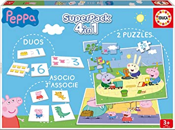 Oferta amazon: Educa- Superpack Peppa Pig Pack de Domino, Identic y 2 Puzzles, Juego de Mesa, Multicolor (16229)