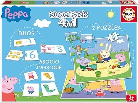 Educa Borrás Superpack Peppa Pig: Domino, Identic y 2 Puzzles ...