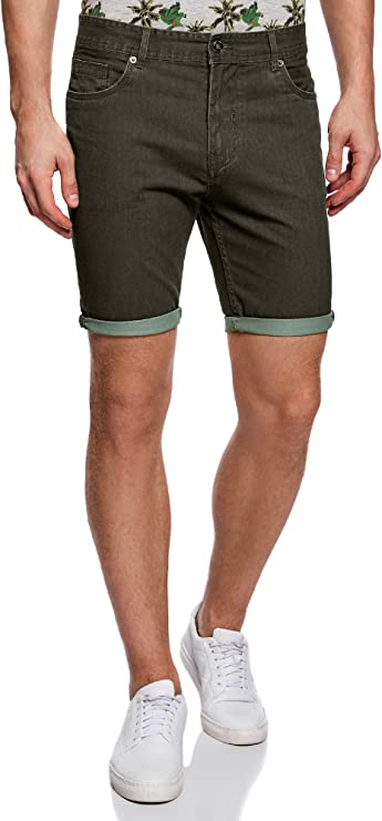TALLA 38. oodji Ultra Hombre Pantalones Cortos 5 Bolsillos de Algodón